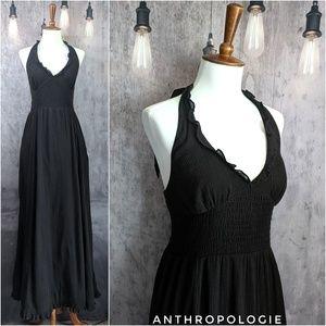 Anthropologie MAEVE Smocked Ruffle Halter dress